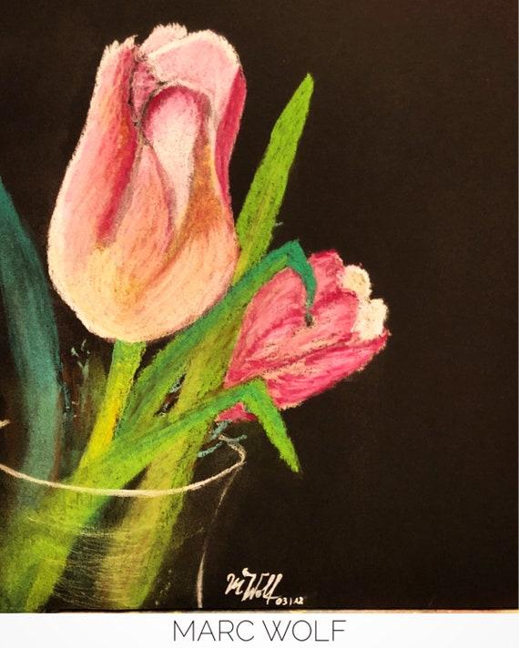 tulpen in der vase pastellkreide auf schwarzem fotokarton. Black Bedroom Furniture Sets. Home Design Ideas