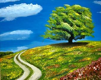 Baum auf der Frühlingswiese, Acrylmalerei  auf Leinwand, 40x40 cm, Landschaftsmalerei