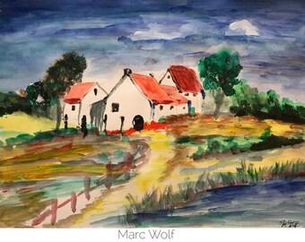 Idylle am Dorfteich, Aquarellmalerei DIN A3, 29,7x42 cm, Landschaftsmalerei von Marc Wolf
