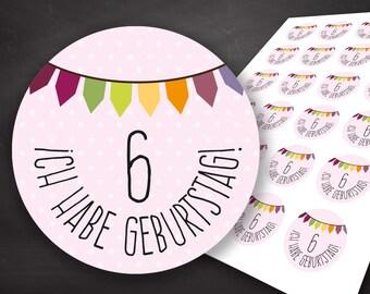Invitation birthday girl, birthday invitation, hostess gift birthday, stickers birthday, labels, planner stickers, give away birthday