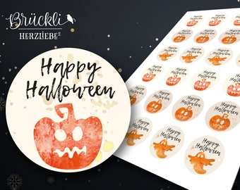 """24 labels / stickers / labels """"Happy Halloween"""" pumpkin and Ghost"""