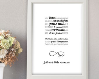 Wedding gift, wedding gift, personalized, wedding promise, wedding couple gift, A4 art print, mural, poster, print