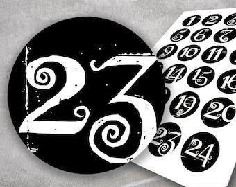 Advent Calendar, 24 Stickers Advent Calendar Numbers, Numbers Advent Calendar, Packaging Advent Calendar, Package Advent Calendar, Planner Stickers
