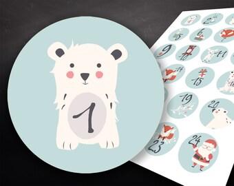 24 Stickers Advent Calendar, Advent Calendar Numbers, Numbers Advent Calendar, Christmas, Advent, Gift, Christmas Gift, Labels