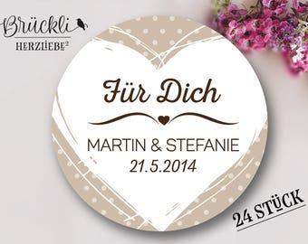 """Aufkleber, Hochzeit """"Für Dich"""" (Herz) / Hochzeitsdeko / Hochzeitsfeier / Gastgeschenke"""