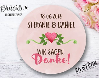 Stickers, wedding 'Thank you' (Pink) / guestbooks / wedding celebration, Thanksgiving