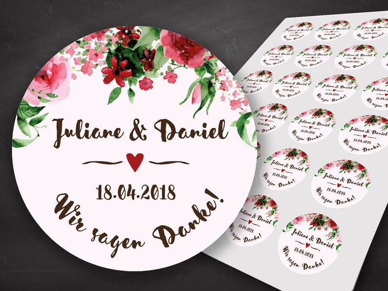 Thanksgiving Wedding Thanksgiving Card Guest Gift Wedding Red Roses Sticker Labels Thank You Sticker Wedding Wedding Decoration