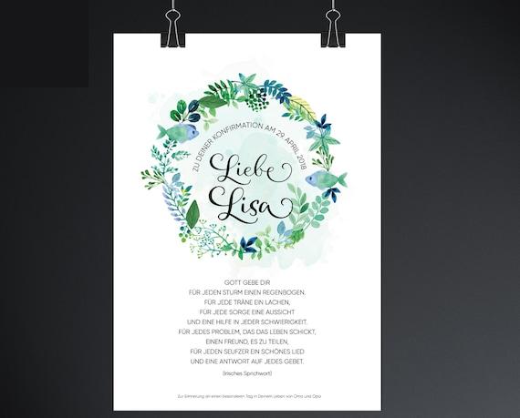 Geschenk Taufe Geschenk Kommunion Geschenk Konfirmation Kommunionsgeschenk Konfirmationsgeschenk Taufgeschenk Segenswunsch Poster