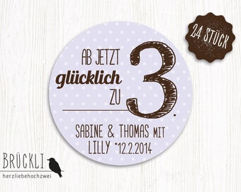 24 stickers to the birth / birth announcement, baby stickers / birth / labels for letters