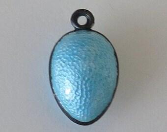 Antique Guilloche Enamel Silver Egg Charm Pendant - Turquoise