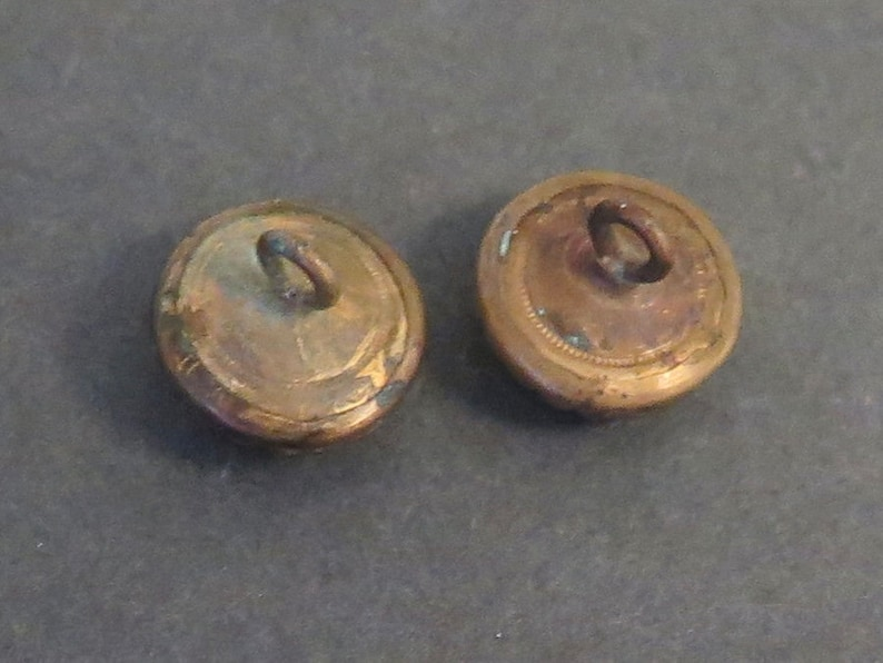 Pair of Antique Waistcoat Buttons Goldstone Glass Center
