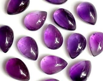 5 Pieces 5x7mm Teardrop Natural Amethyst Cabochon, CALIBRATED Pear Shaped Amethyst Loose Stone, Semi Precious Gemstone Cabochon Lot 2C194
