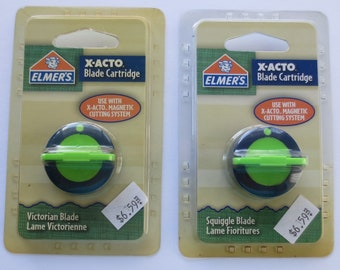 Elmers X-Acto Blade Cartridge, Set of 2, 1 Victorian Blade and 1 Squiggle Blade, New in Original Package