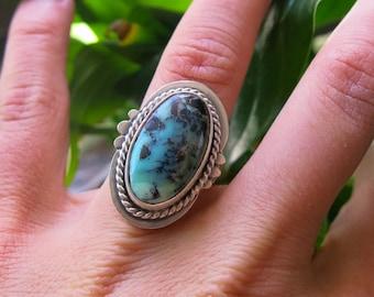 Turquoise Mountain Statement Ring  Mixed Metal