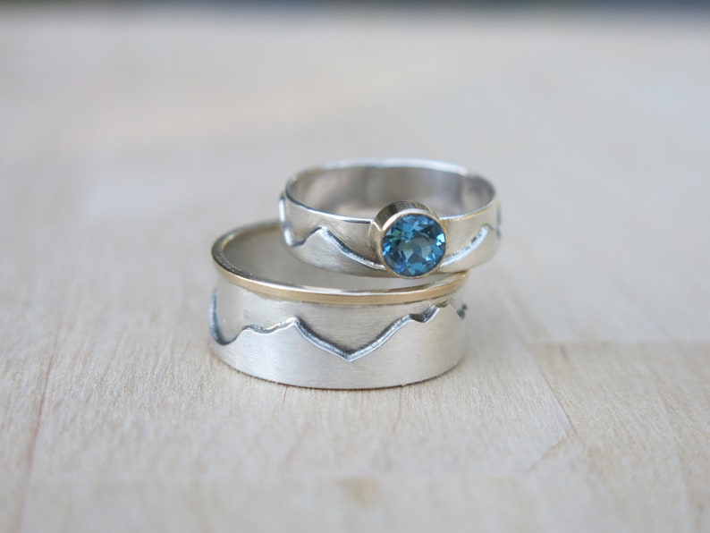 His And Her Wedding Bands.His And Hers Wedding Bands Two Custom Mountain Rings Men S Wedding Ring Women S Wedding Ring Sterling Silver And 14k Gold