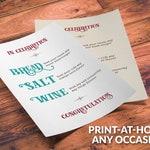 Printable Bread Salt Wine Blessing - bread salt wine gift basket poem for DIY gift basket for any occasion - housewarming, wedding, couples