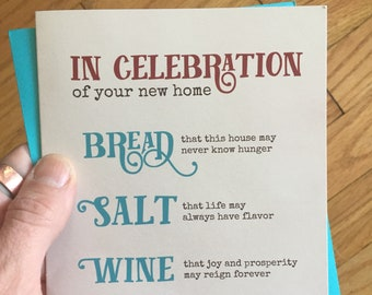 Housewarming Card, First Home card, Housewarming gift first home, First home gift, Housewarming party gift, Bread Salt Wine, new home gift