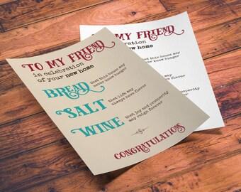 Printable New Home Blessing, Bread Salt Wine Poem, bread wine salt gift, Housewarming Gift Basket, housewarming printable, new home gift