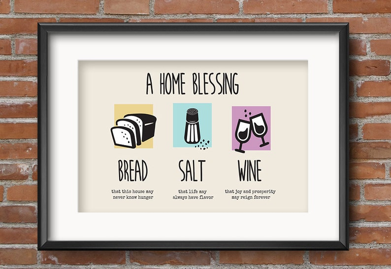 House Blessing Iconic Bread Salt Wine Quote Housewarming image 0