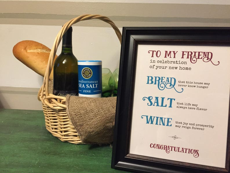 New Home Housewarming Gift Home Blessing Bread Salt Wine image 0