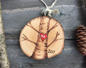 Couples Christmas Ornament, Carved Tree Heart Ornament,First Christmas Ornament Couple,Christmas Ornaments Wedding,Initials in Heart Carving