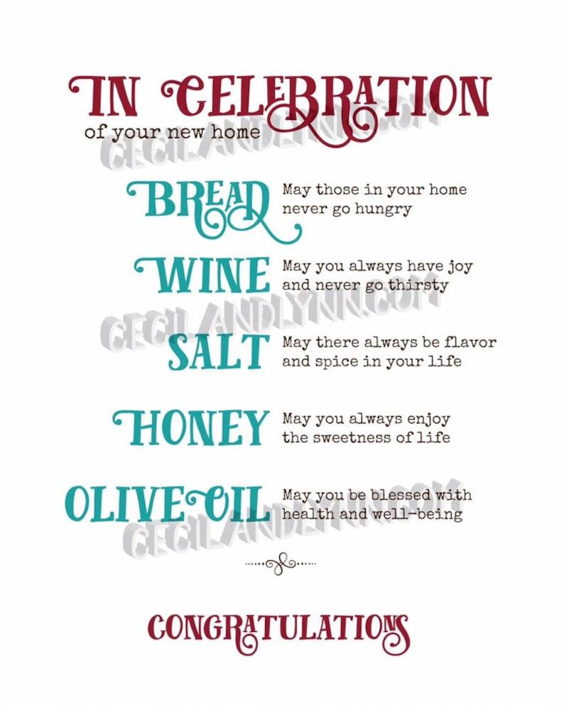 Printable Home Blessing Bread  Salt Wine Honey Olive Oil image 0