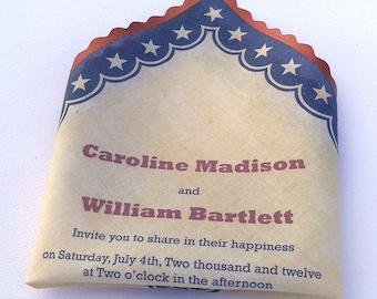 Americana wedding invitation, 4th of July wedding, patriotic invitation, vintage rustic wedding, sample or set of 10
