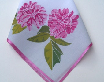 Pink peonies personalized wedding handkerchief with monogram