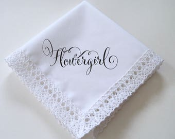 Printed flowergirl wedding handkerchief with cotton lace