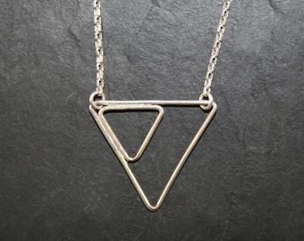 Necklace asymmetrical triangle pendant