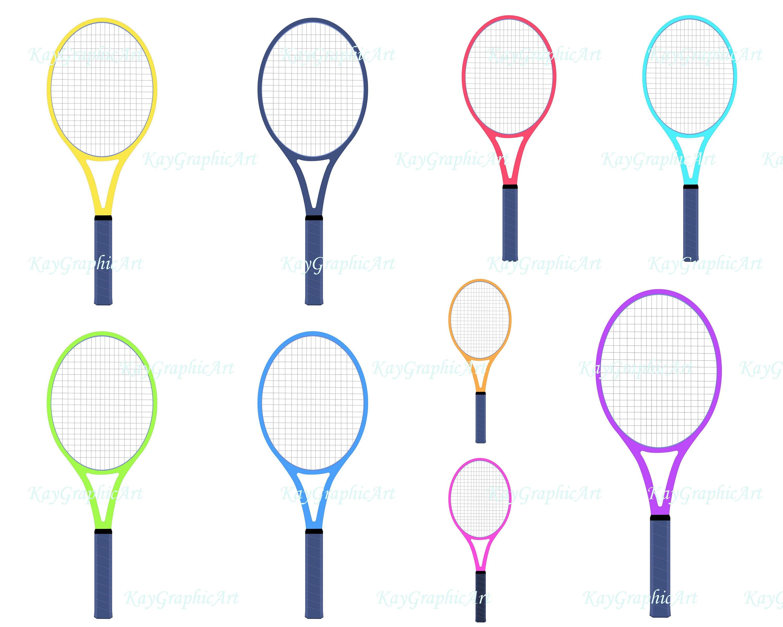 Tennis Racket Clipart Digital Clip Art Graphics Yellow Green Etsy
