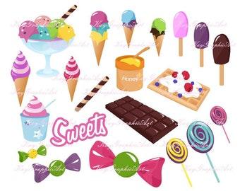 Sweets set lollipop icecream ice cream candy chocolate honey waffle dessert party clipart Digital Clip Art download Scrapbooking jpg png