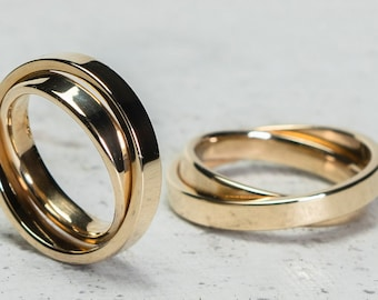 """Wedding rings/wedding rings """"double"""" in 585 yellow gold"""