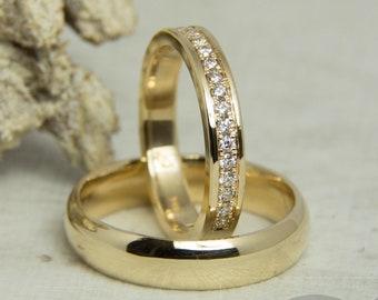 Wedding rings/wedding rings with diamonds. 585 Gold. Ⅱ
