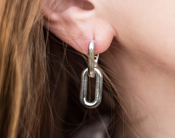 """Earrings """"anchor chain"""" made of 925 silver"""