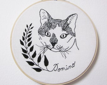 Custom embroidery cat portrait (or any other pet portrait)