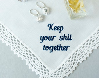 keep your shit together wedding handkerchief funny mother of the bride gift from bride wedding day gift for bride from bridesmaid best  sc 1 st  Etsy & Wedding day gift | Etsy