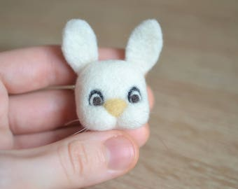 Needle Felted Bunny Rabbit Brooch - Handmade Cute Gift