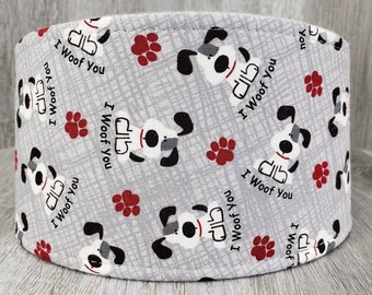 SHIPS TOMORROW  - Male Dog Belly band - dog diaper - potty training aid - house breaking - Small to Large - I Woof You Grey