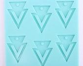 Double Triangle Boho Pendant Mold, Geo Print Resin Mold, Geo Pendant Mold, Shiny Jewelry Mold, Angular Mold, Southwestern Mold, Tribal Mold