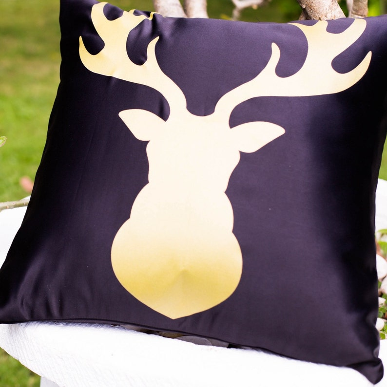 Gold Elk Design  Decorative Pillow Case Throw Cushion Cover image 0