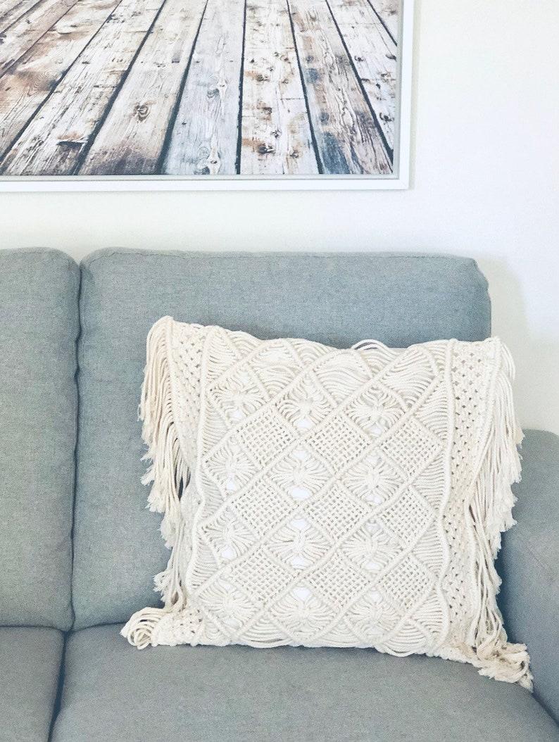 Macrame Decorative Pillow Case  Throw Cushion Cover Pillow image 0