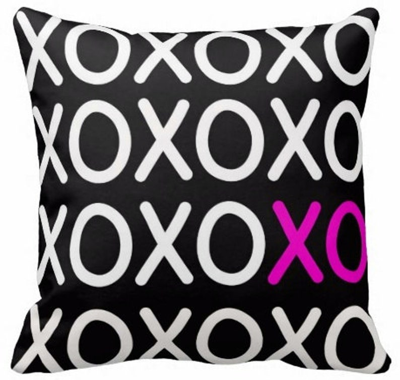 XO Black  Decorative Pillow Case Throw Cushion Cover Pillow image 0