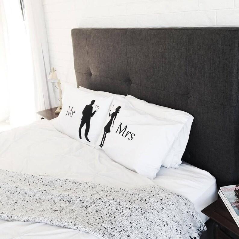 Mr & Mrs  Engagement gift Wedding Gift Pillowcases Couples image 0
