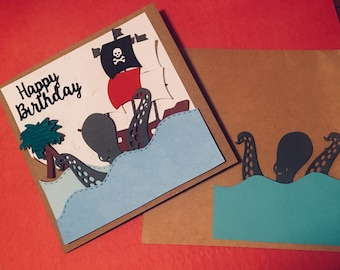 Handmade Pirate Ship birthday card