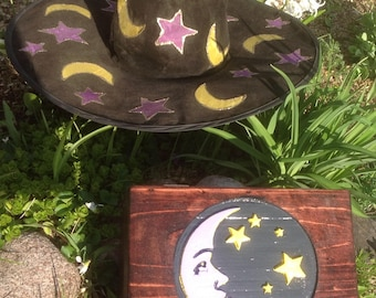Wooden Box with Moon and Stars