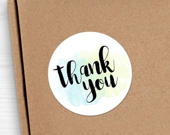 "Thank You Stickers - 1.625 x 1.625"" Circles 24 Per Sheet - Wedding Sticker Set Script Thanks TY Labels Gift Label Gifts Bridal Shower Baby"