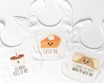 Funny Baby Bibs - You Wanna Piece Of Me, Cutie Pie, I Cannoli Be Happy When I'm With You - Food Saying Puns Baby Bibs Cake Pumpkin Desserts