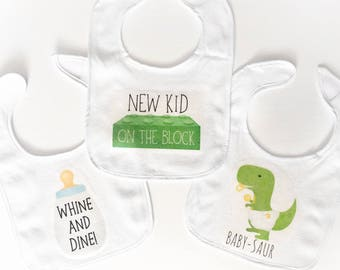 Funny Baby Bibs - Whine And Dine, New Kid On The Block, Baby-saur - Newborn Baby Shower Gifts For Mommy-to-be Infant Dinosaurs Puns Bib Gift