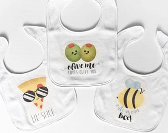 Funny Baby Bibs - Lil' Slice, Olive Me Loves Olive You, Cute As Can Bee - Adorable Gifts For Newborn Unisex Baby Shower Gifts Mommy-to-be